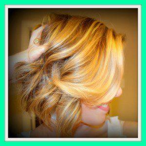 blonde angled bob curled