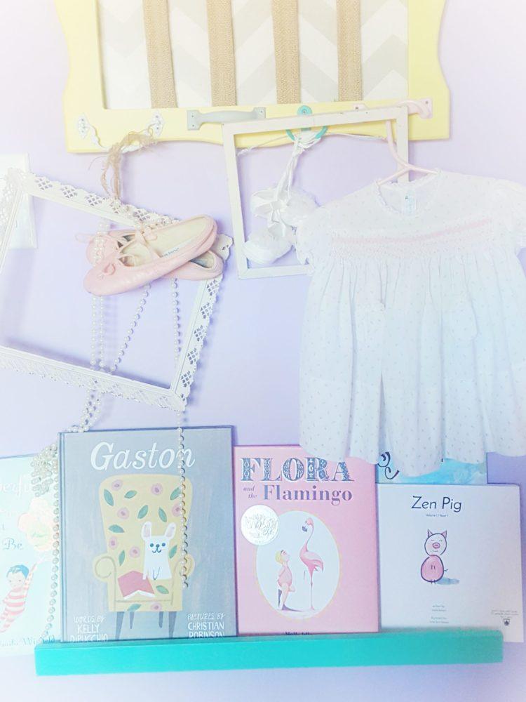 Georgia and Genevieve Pretty Pastel Nursery Book Shelf
