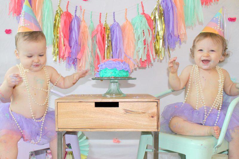 Twin Girls Cake Smash Mint Coral Lavender Gold Theme