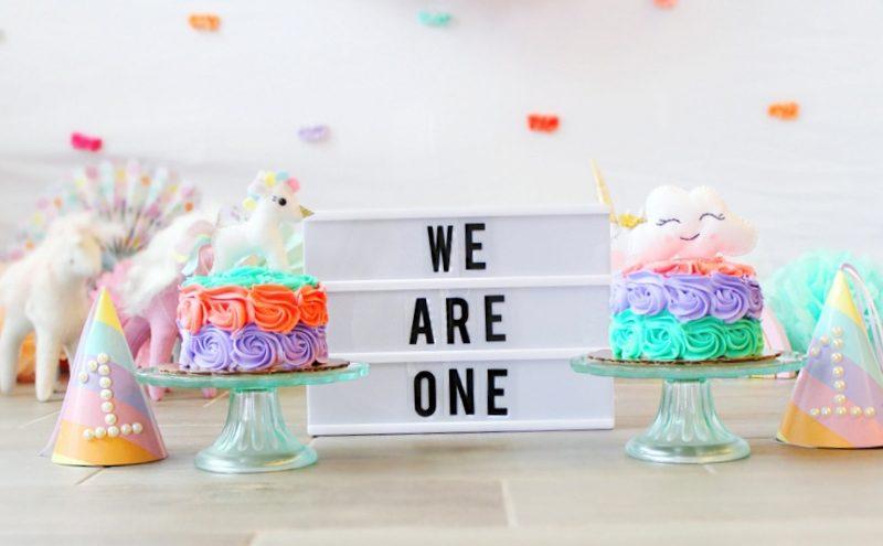 Twin Girls Cake Smash Unicorn Theme Light Up Marquee Sign