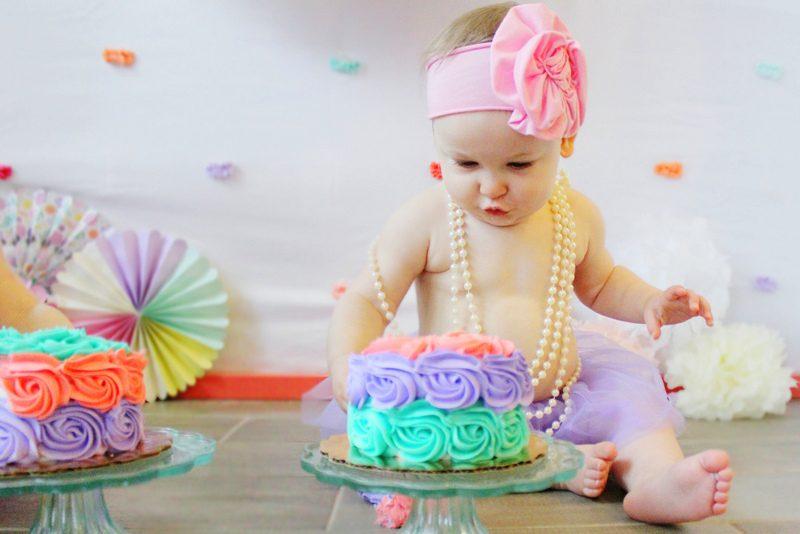 Girl Cake Smash Pastel Unicorn Theme