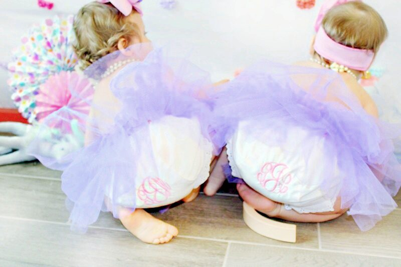 Twin Girl Cake Smash Monogram Bloomers