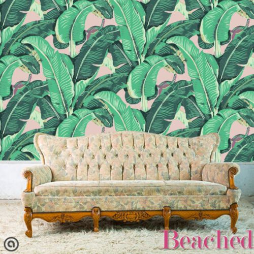 Banana Leaf Removable Wallpaper- Peel & Stick Self Adhesive Fabric Temporary Wallpaper