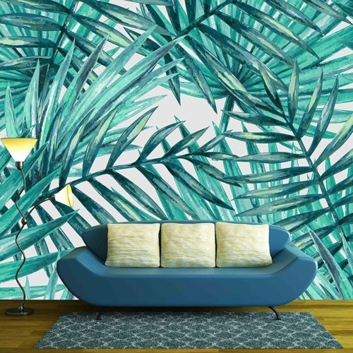 Watercolor tropical palm leaves seamless pattern - Removable Wall Mural