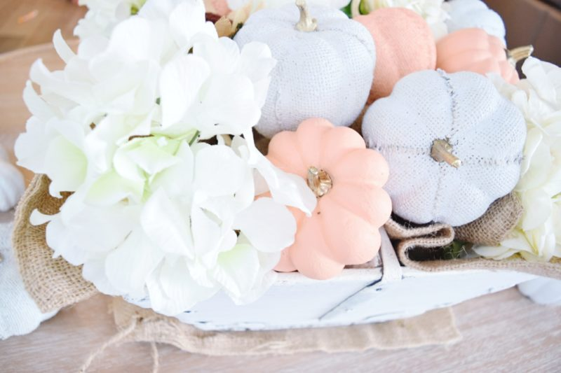 how to create a simple fall centerpiece with neutral painted pumpkins and hydrangeas