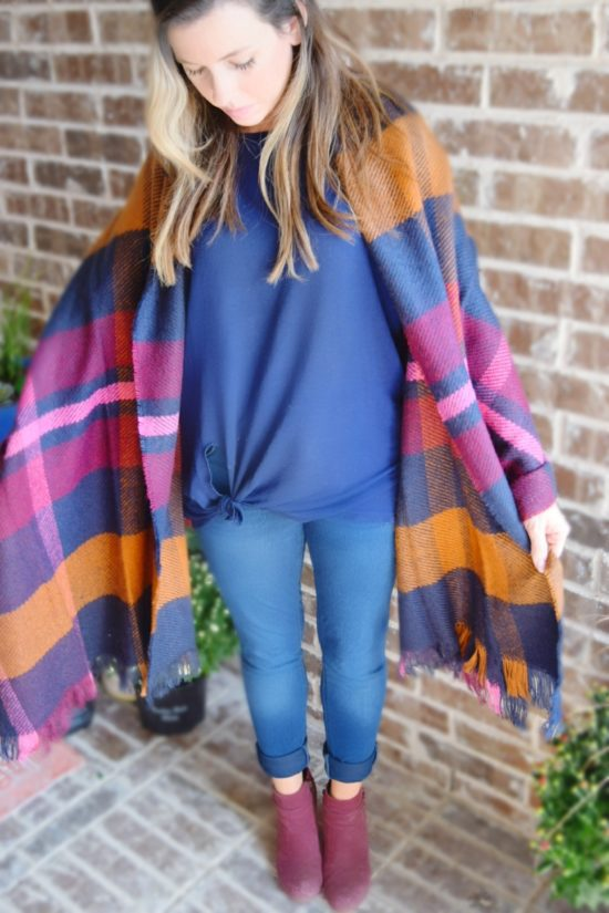 pink navy plaid blanket scarf