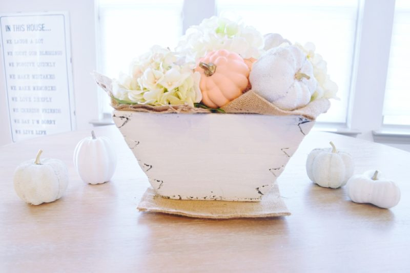 White painted pumpkins and white chalk painted wood basket