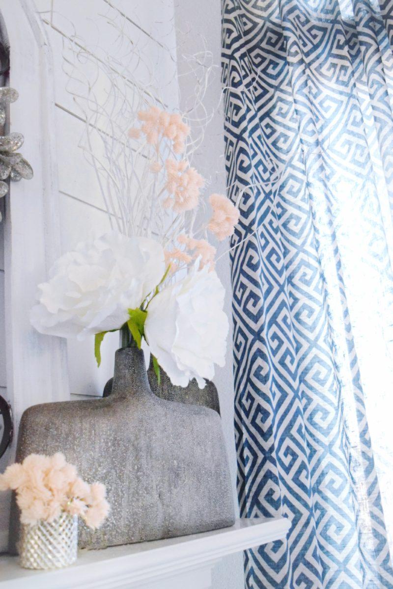 mantle decor winter decor greek key navy curtains