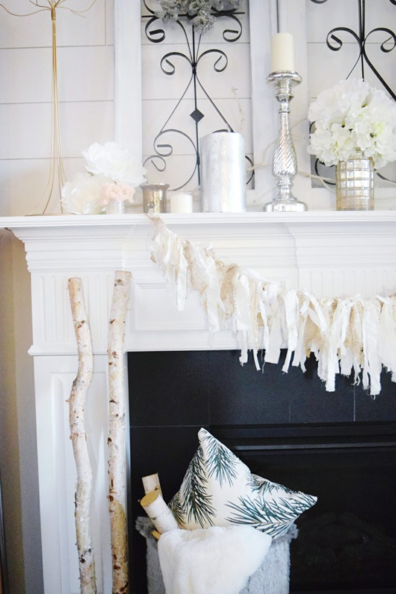 winter cozy and glam mantle neutral winter decorating ideas