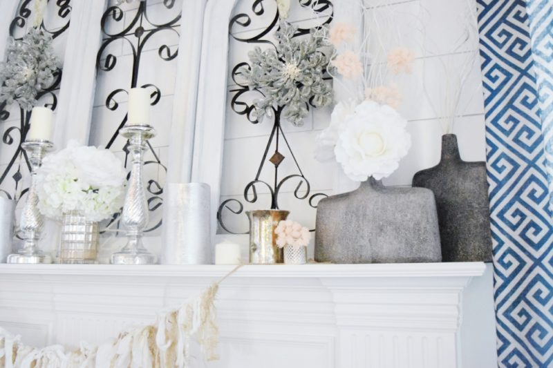 winter cozy and glam mantle silver and gold modern glam decor decorating