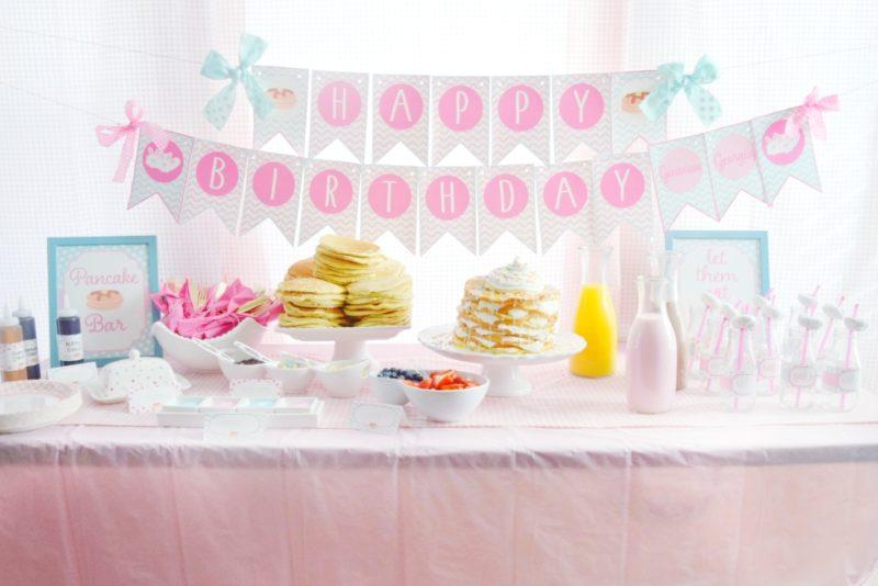 pancake and pajamas pancake bar twin birthday party preppy pink birthday ideas twin girls birthday