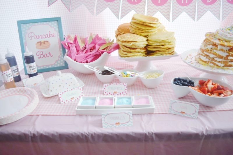 pancake and pajamas pancake bar twin birthday party preppy pink birthday ideas twin girls birthday party pink gingham
