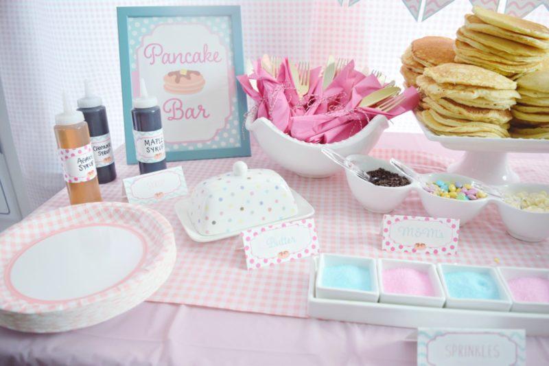 pancake and pajamas pancake bar twin birthday party preppy pink birthday ideas twin girls birthday party