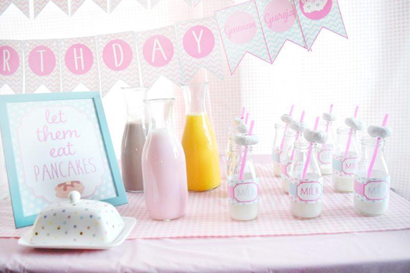pancake and pajamas pancake bar twin birthday party preppy pink birthday ideas twin girls birthday party milk bottles customized