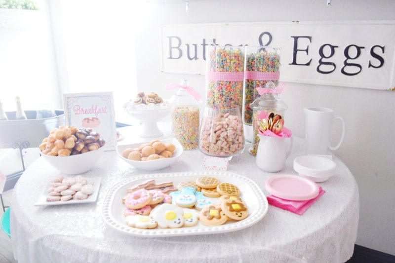 pancake and pajamas breakfast bar birthday party ideas pancake bar cereal bar for kids birthday party breakfast themed cookies