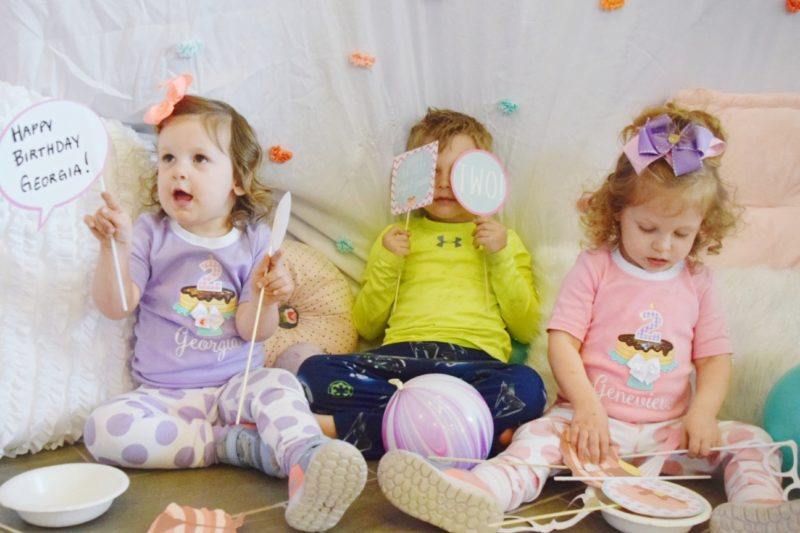 pancake and pajamas twin girl birthday party family pictures