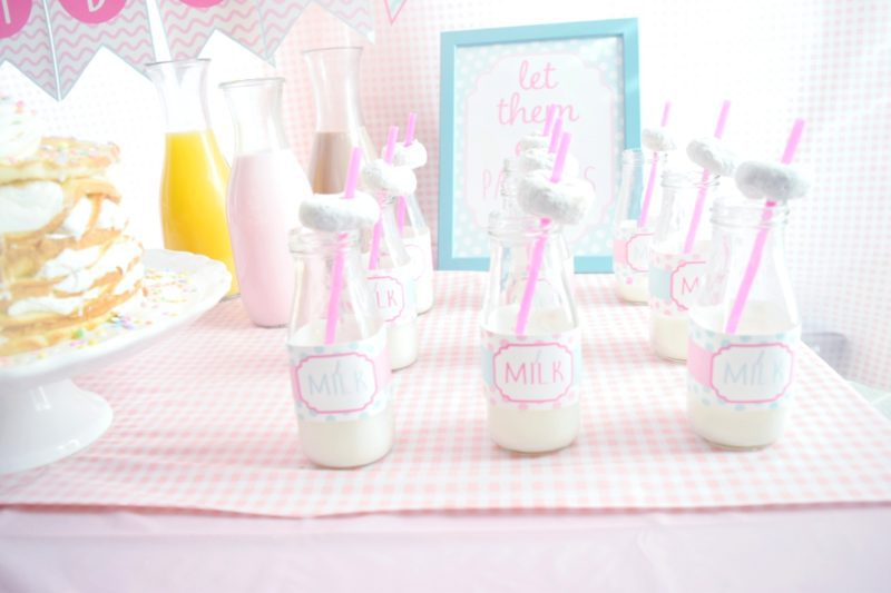 pancake and pajamas birthday party decorating ideas for twin birthday party glass milk bottles