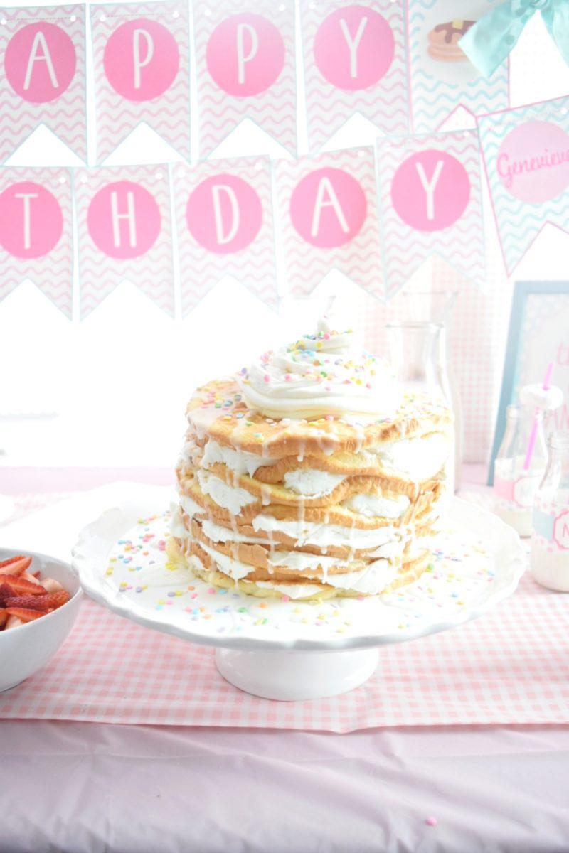 pancake and pajamas birthday party pancake birthday cake preppy pink birthday party