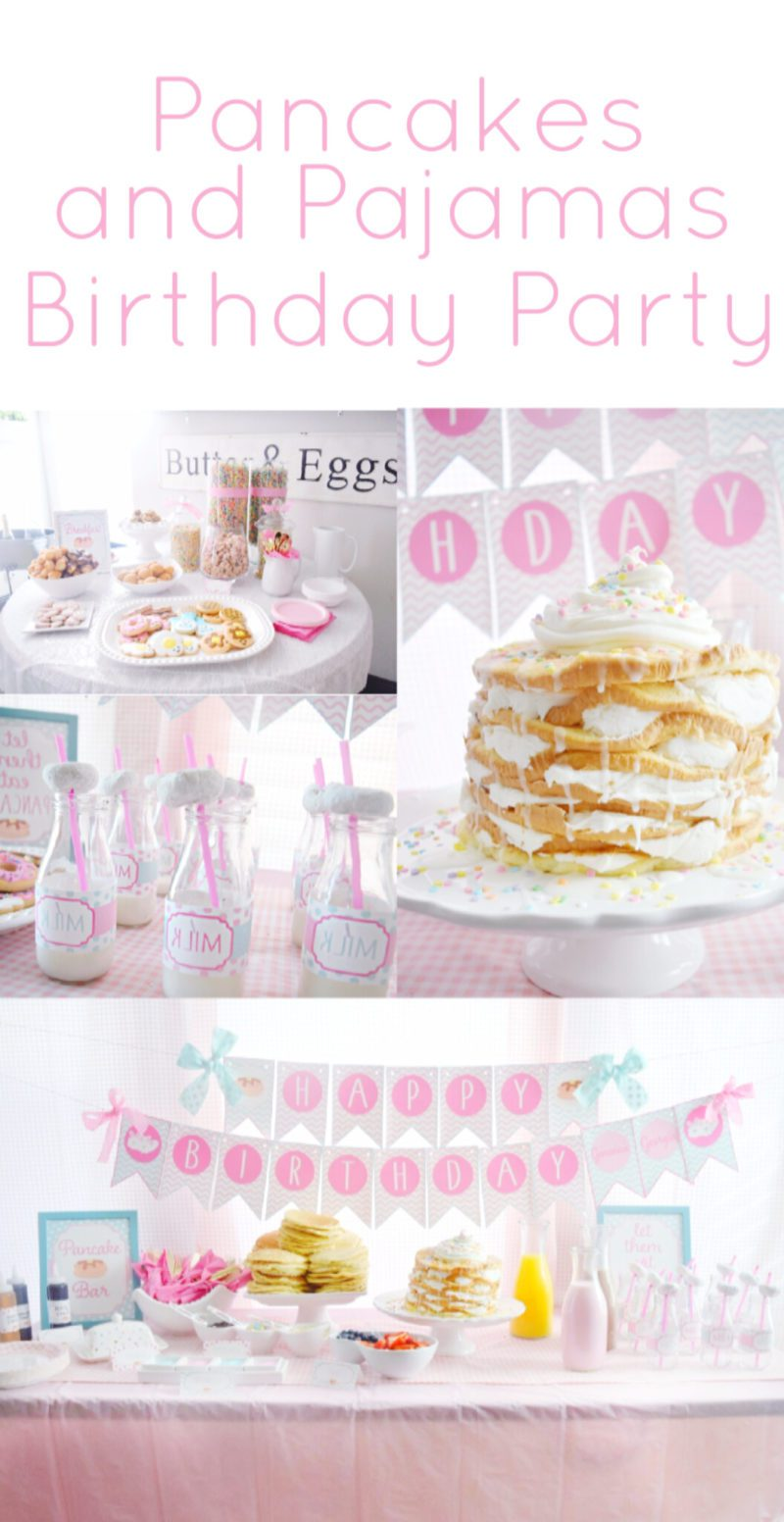 Pancake and pajamas birthday party girls birthday ideas pancake bar breakfast bar pancake and pjs party supplies party decorations birthday pajamas pink gingham party