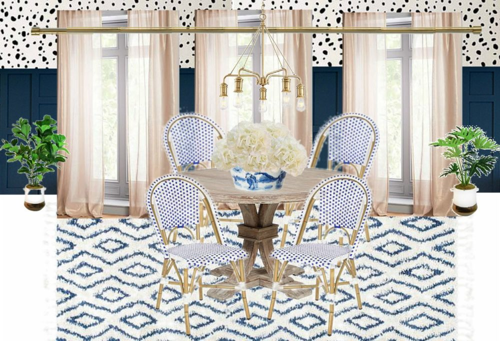 Breakfast Nook Design Board Inspiration Mood Board Ideas for Kitchen Nook Dalmation Spots Stencils DIY Stenciling Navy Blue Woven Bisto Chairs Navy Wainscoting Wood Paneling