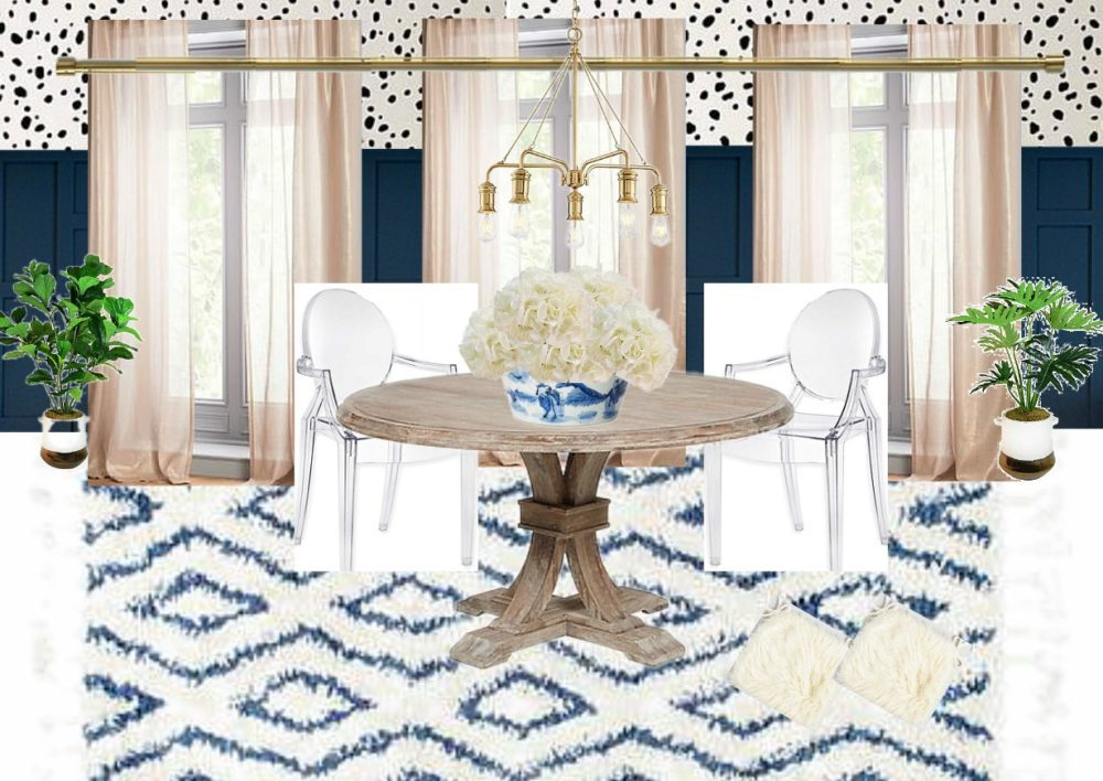Breakfast Nook Design Board Inspiration Mood Board Ideas for Kitchen Nook Dalmation Spots Stencils DIY Stenciling Ghost Chairs Navy Wainscoting Wood Paneling