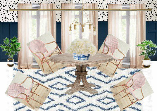 Breakfast Nook Design Board Inspiration Mood Board Ideas for Kitchen Nook Dalmation Spots Stencils DIY Stenciling Light Pink Blush Woven Bisto Chairs Navy Wainscoting Wood Paneling