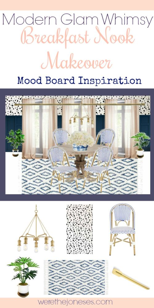 modern glam whimsy breakfast nook mood board ideas and inspiration dalmation spots stencils DIY stenciling woven bistro chairs navy and blush and gold www.werethejoneses.com