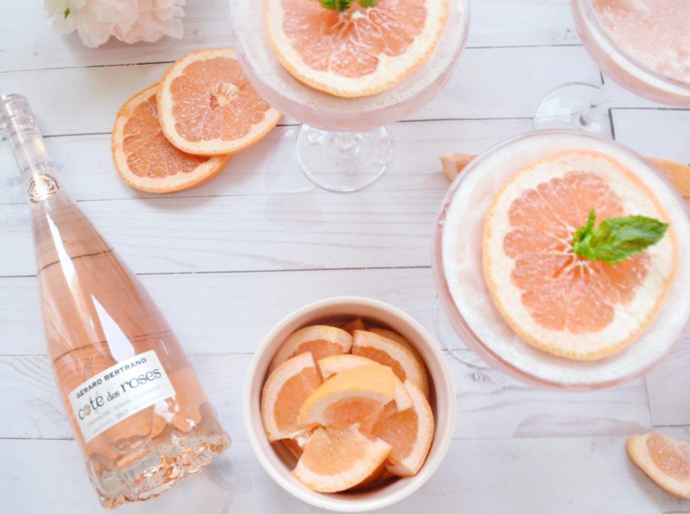Grapefruit Frosé frozen roséFrosé recipe frose in blender rose slushie frozen rose cocktail
