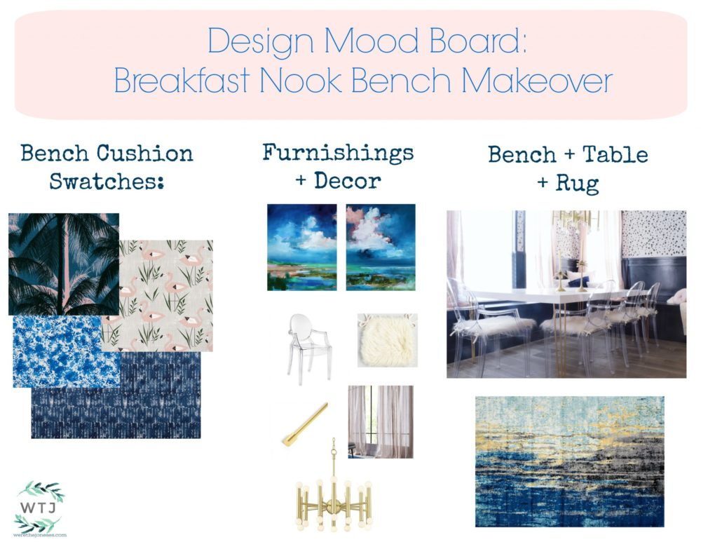 Design Mood Board Breakfast Nook How to Design Your Home How to Decorate Your Home Visual Board Decor Board Ideas for Decorating We're the Joneses