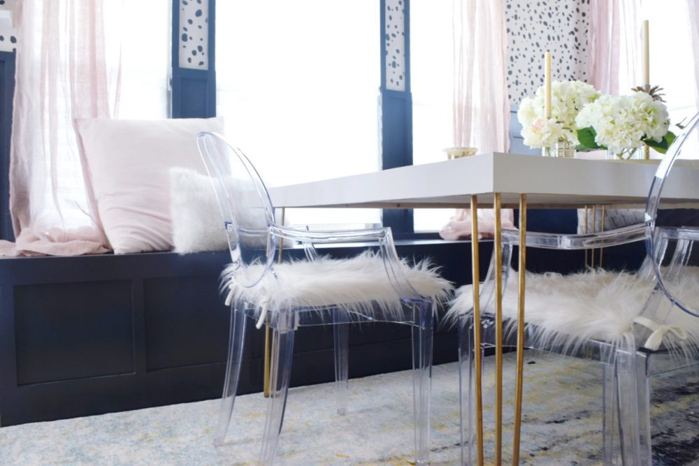 Breakfast nook makeover kitchen nook design reveal how to build a breakfast nook kitchen table breakfast nook gold hairpin table legs lucite chairs ghost chairs modern home decor