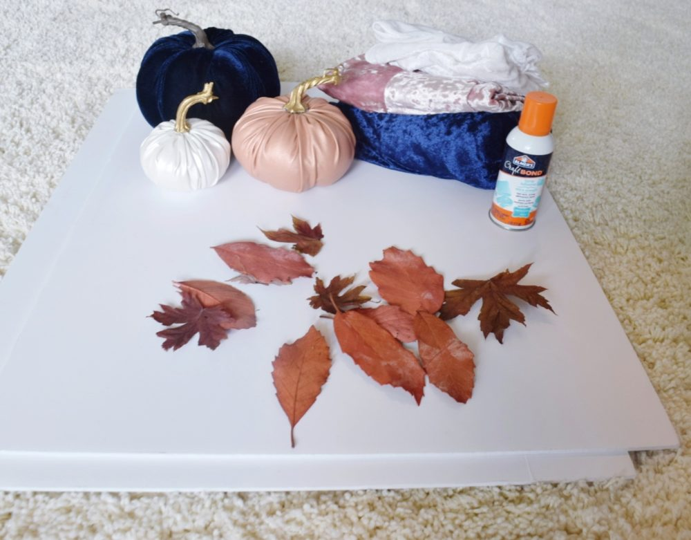 Modern Fall Mantle Floating Leaves DIY Velvet Fabric Velvet Pumpkins Leather Pumpkins Spray Painted Leaves