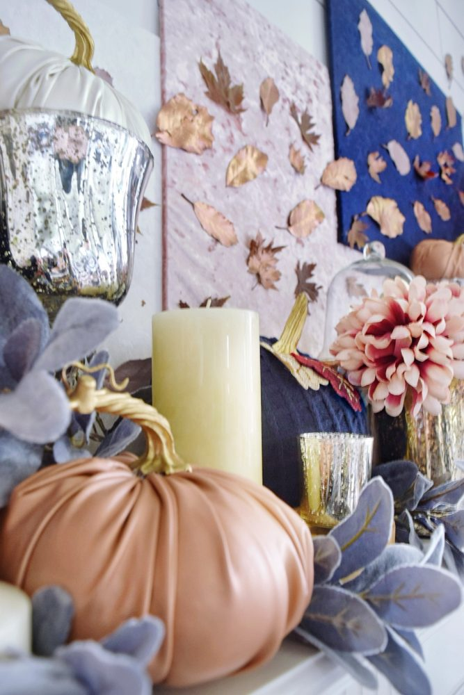 Modern Fall Mantle Luxe Glam Fall Decor Rose Gold Navy Pink Mauve Copper Fall Colors Leather Pumpkin Velvet Pumpkin