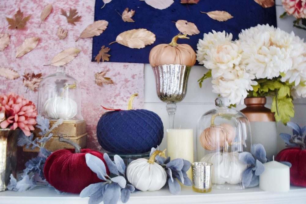 Luxe Glam Fall Mantle Modern Fall Decor Navy Pumpkins Rose Gold Pumpkins Leather Pumpkin Velvet Pumpkin