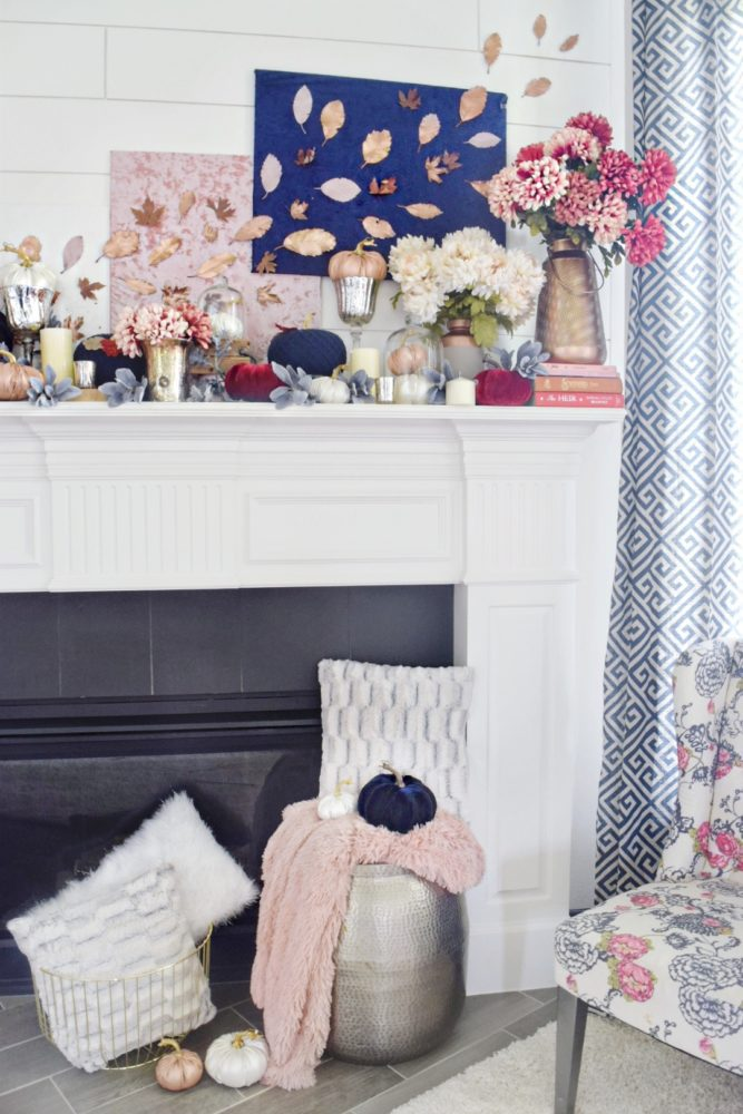 Modern Fall Mantle Luxe Glam Fall Mantle Navy and Pink Decor Modern Fall Decorating Navy Velvet Pumpkin Rose Gold Leather Pumpkin
