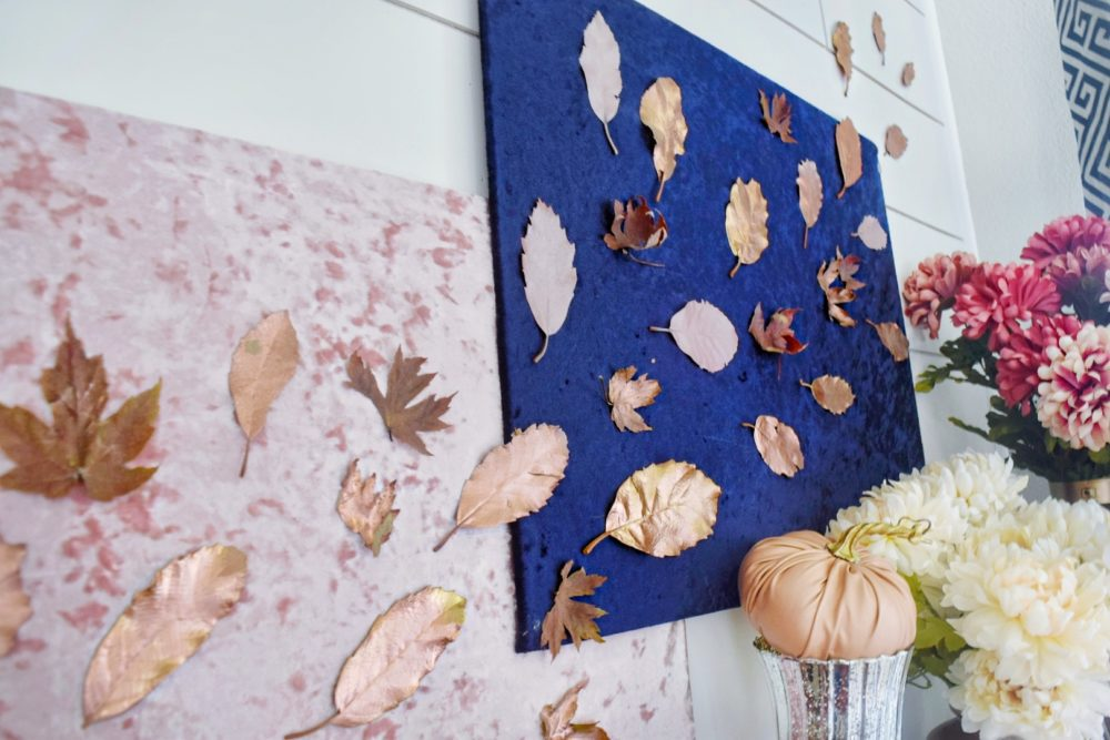 Modern Fall Mantle Floating Leaves DIY Copper Fall Leaves Luxe Glam Fall Decor Velvet Fabric Wall Decor