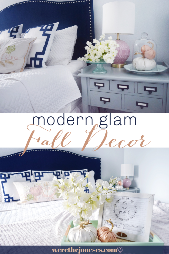 fall decor using navy blush pink peach orange colors in our guest bedroom