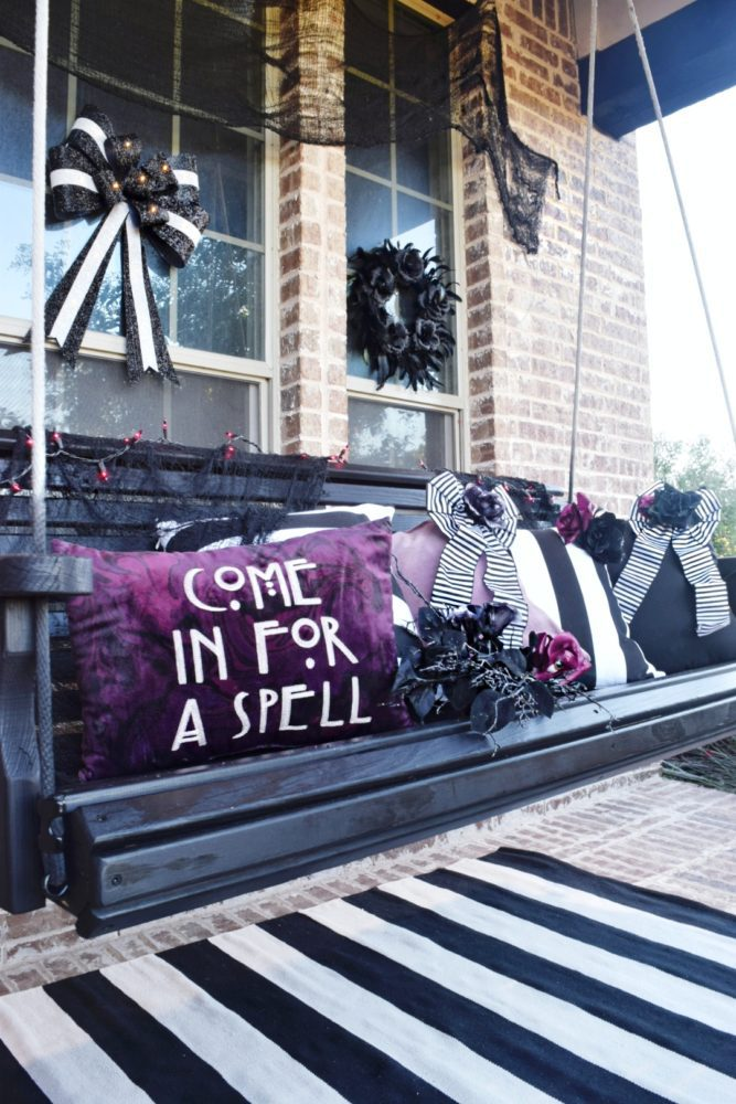 Frightful front porch modern chic halloween decorating ideas halloween pillows purple and black halloween decor black and white stripes elegant halloween