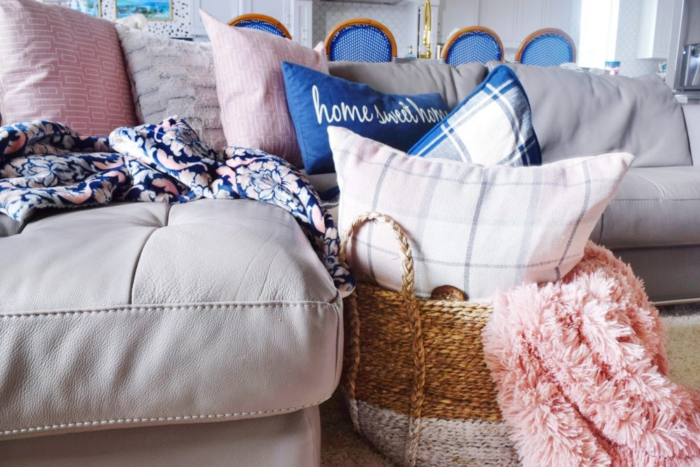 How to Shop for your home Modern Living Room Decor Ideas Blush Pink and Navy Home Decor Items
