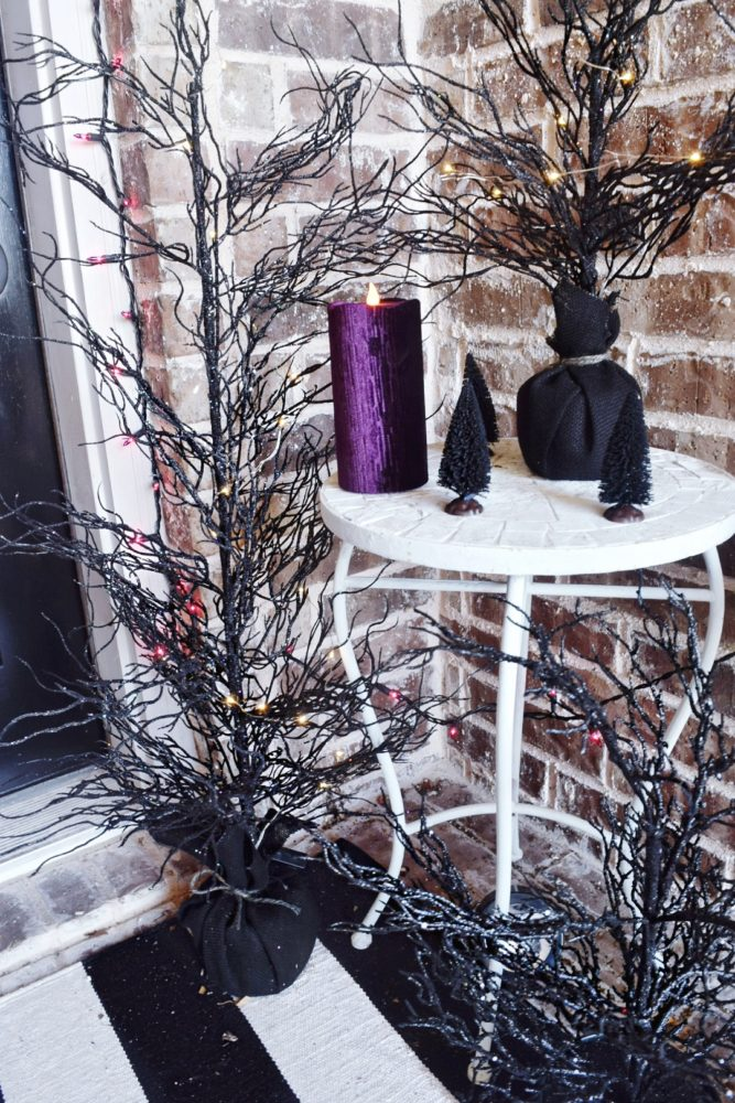 Frightful front porch modern chic halloween decorating ideas spooky black Halloween trees elegant Halloween decor how to decorate my front porch for Halloween