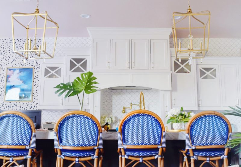 the reveal: modern coastal glam kitchen makeover gold and blush decor tropical kitchen glam kitchen ideas glam kitchen décor modern coastal kitchen modern kitchen cabinets modern kitchen table modern kitchen island modern kitchen ideas