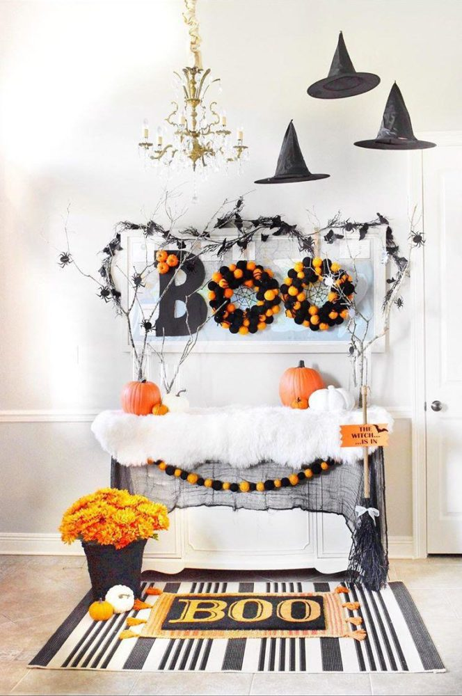 8 Creative Halloween Decorating Ideas For your Home Halloween Decorations for your Foyer and Entryway Table Boo Sign Floating Witch Hats