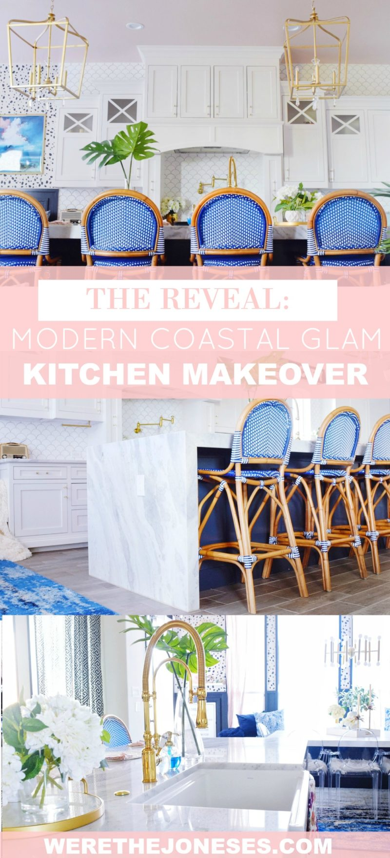 The Reveal Modern Coastal Glam Kitchen Makeover Blush Pink Ceiling Hi Gloss Ceiling Glossy Ceiling Blue Bistro Bar Stools Coastal Counter Stools Tropical Kitchen Ideas Marble Countertops White Kitchen Ideas Brass Kitchen Fixtures Navy Cabinets Ideas