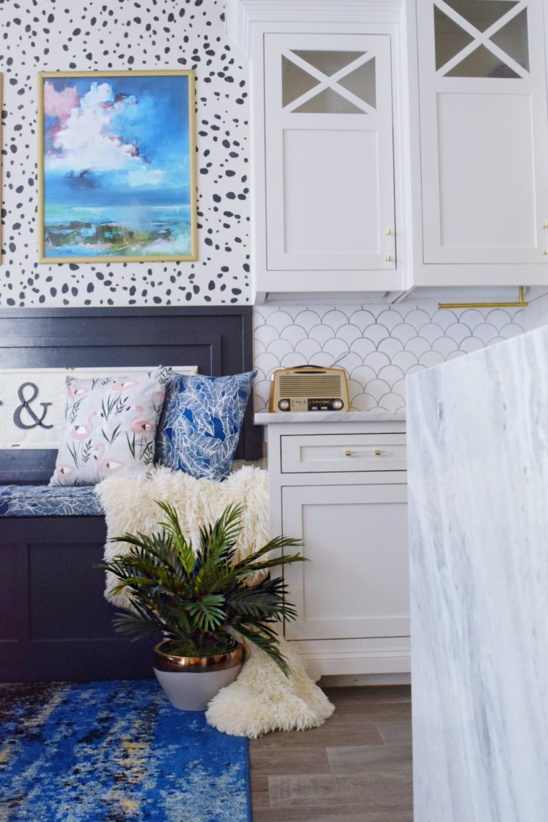 The Reveal: Modern Coastal Glam Kitchen Makeover Tropical Breakfast Nook colorful kitchen tropical kitchen glam kitchen ideas glam kitchen décor modern coastal kitchen modern kitchen cabinets modern kitchen table