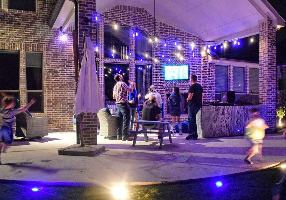 Enbrighten Color Changing Cafe Lights Outdoor String Lights Jasco Cafe Lights Football Watching Party Team Colors Lights for Outdoor Parties