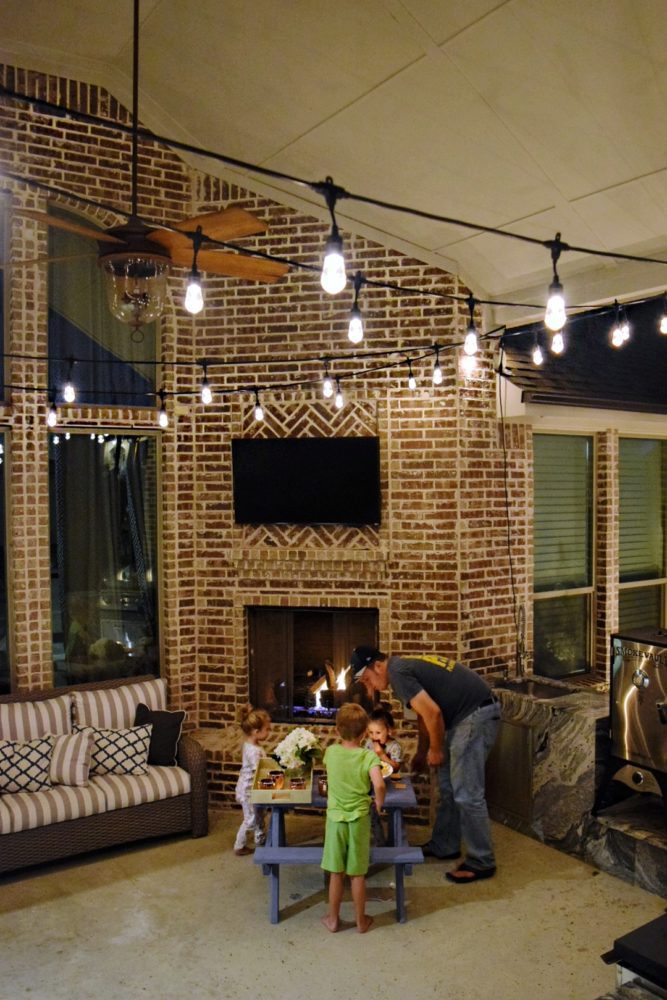 3 Fun Ways to Light Up Your Backyard This Season Enbrighten Color Changing Cafe Lights Family Smores Night Outdoor String Lights Outdoor Patio Lights Jasco Cafe Lights