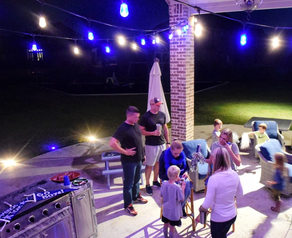 Enbrighten Color Changing Cafe Lights Outdoor String Lights Jasco Cafe Lights Football Watching Party Ideas Outdoor Party Decor Team Party Football Party