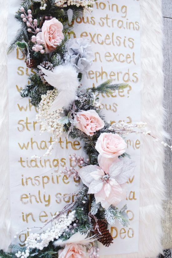 Christmas DIY song lyric table runner