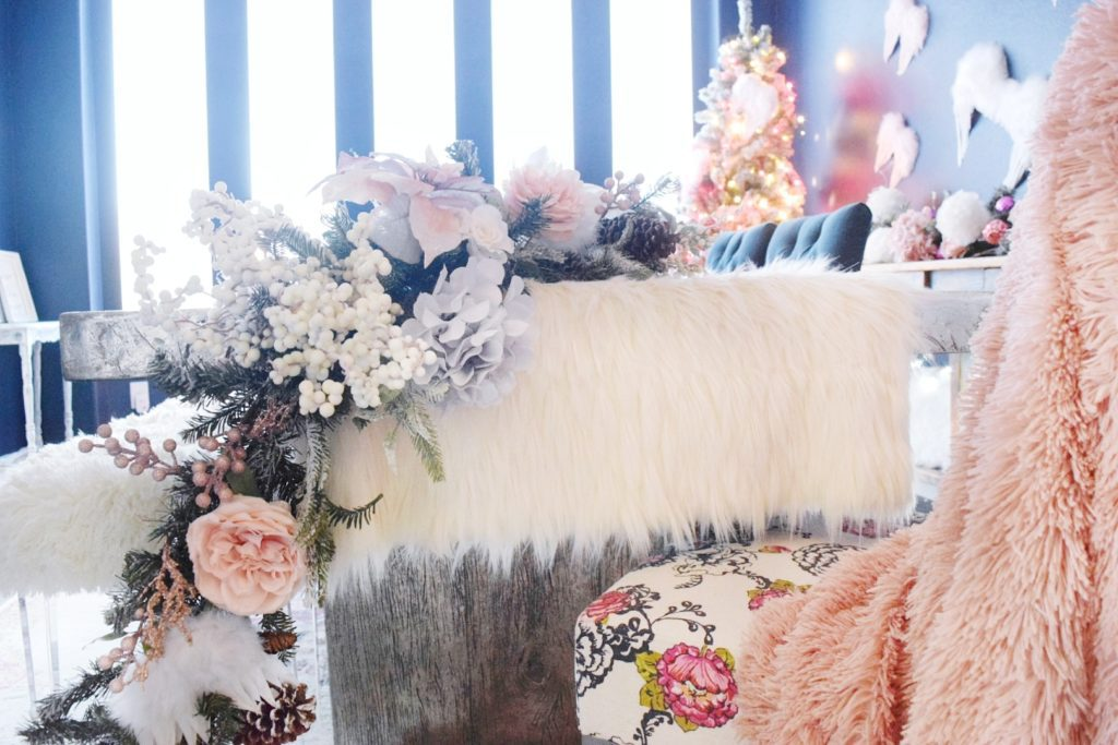 Whimsical christmas tablescape with pinks and whites