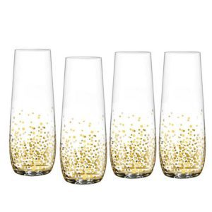 Best Girlfriend Gift Ideas Wine Lovers Gifts Bar Gifts Golden Luster Stemless Flute Glasses