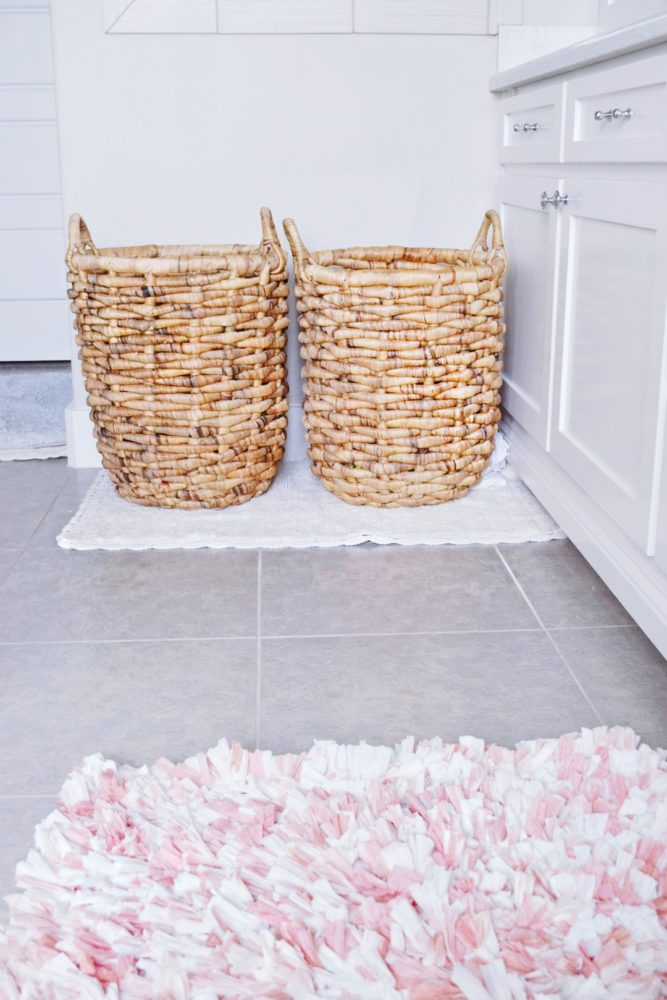 White Master Bathroom Modern and Fresh Master Bath Decor His and Hers Laundry Hampers How To Decorate Bathrooms on a Budget